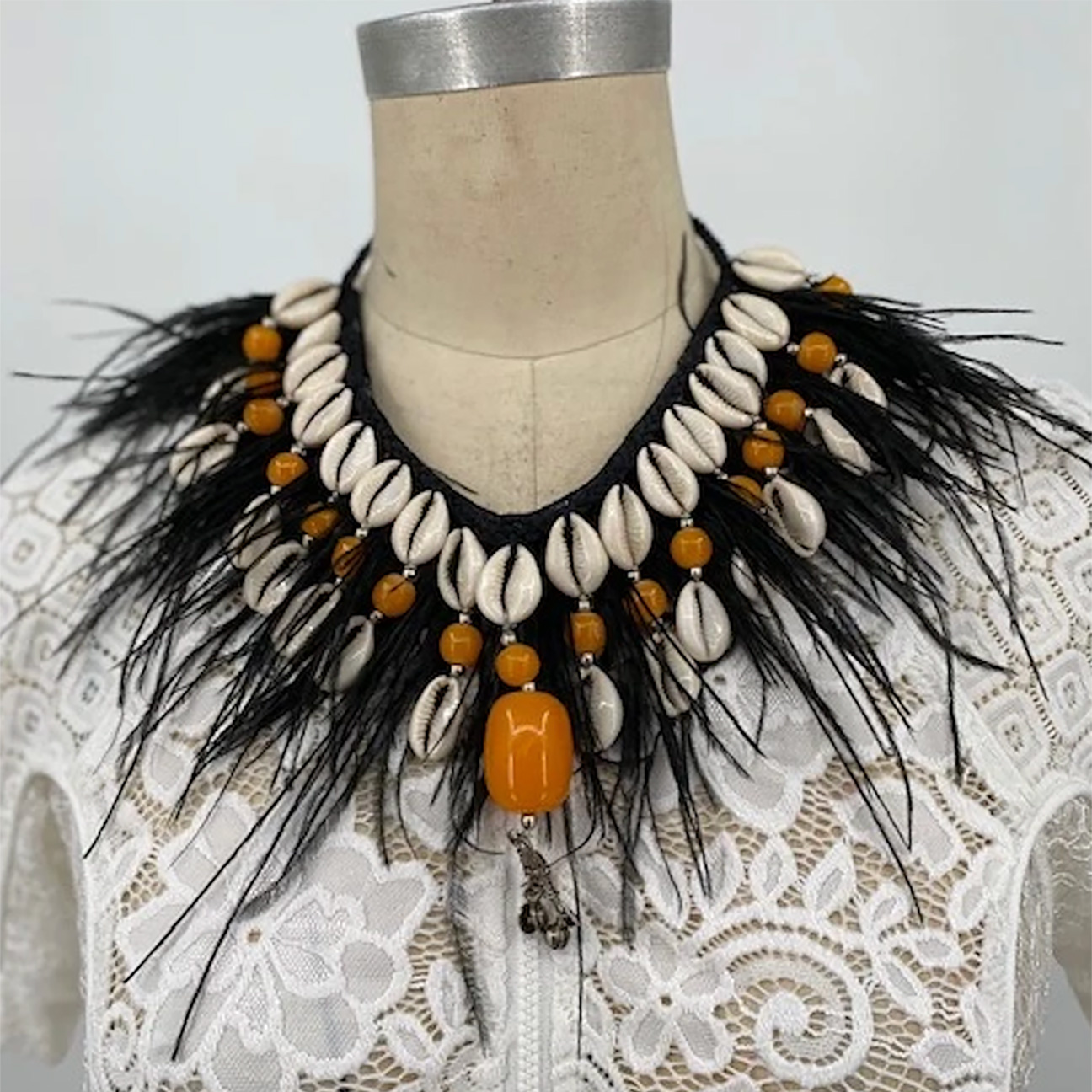 Sheila Gray Collection Feather & Cowrie Shell Necklace