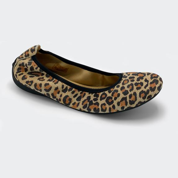 Harmony783 Women's Leopard Suede Ballet Flat